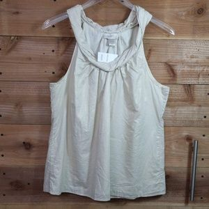 LOFT Beige Tank with Gold Shimmer NWT